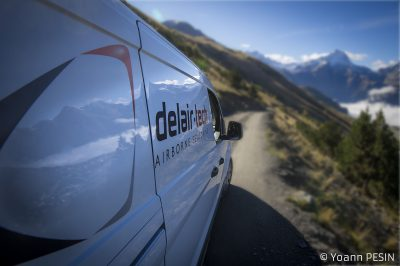 Delair-Tech truck in mountains