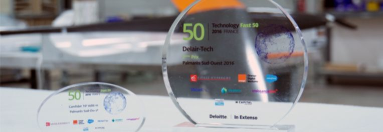 Delair-Tech placed fifth in the 2016 Deloitte Technology Fast 50 France awards and also winner of the Aerospace & Defense sector prize