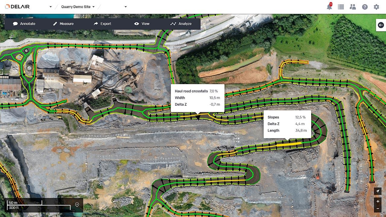 Automatic haul road geometry measurement